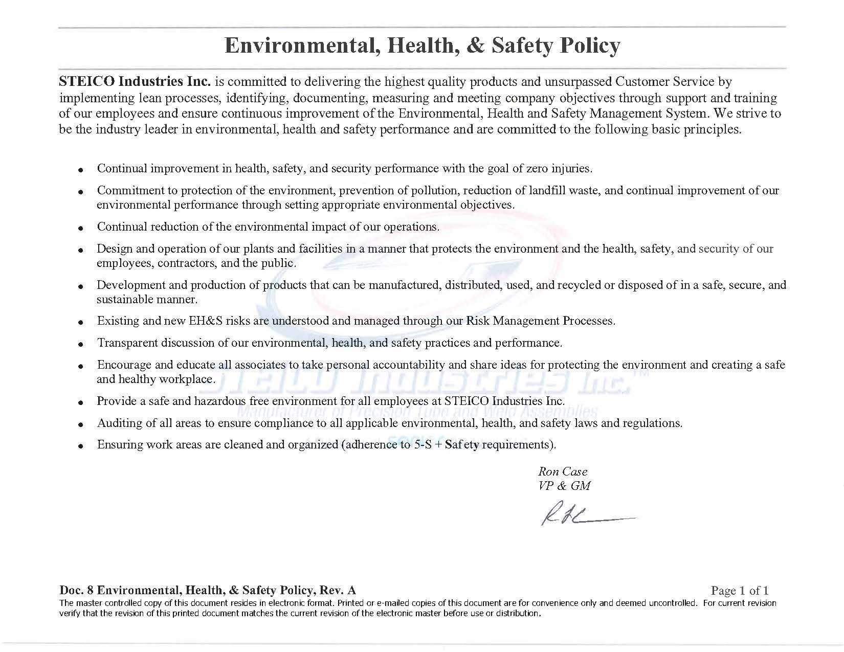 Environmental, Health, & Safety Policy